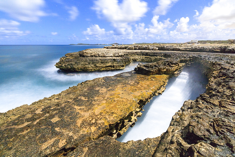 Rough sea and cliffs, Devil's Bridge, Antigua, Antigua and Barbuda, Leeward Islands, West Indies, Caribbean, Central America