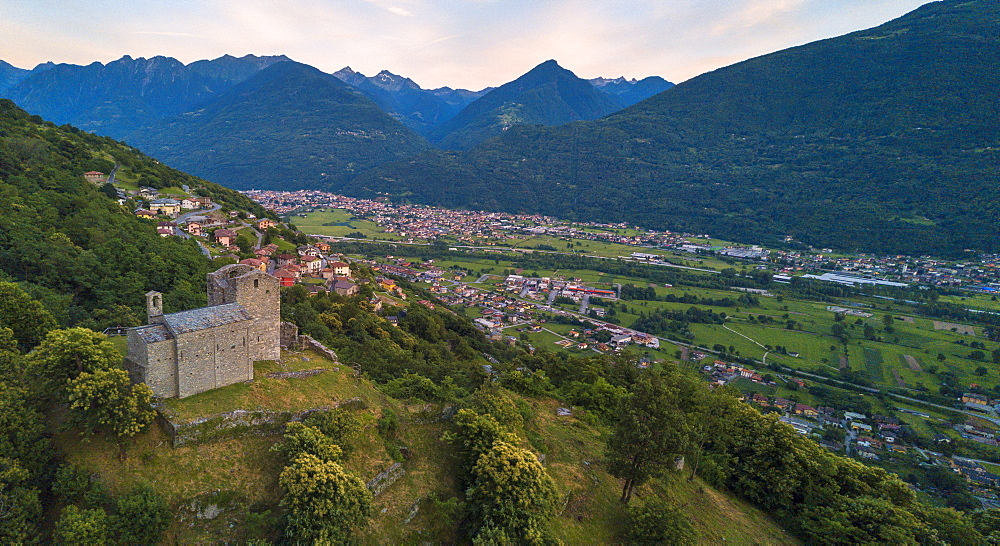 Panoramic elevated view of Castello di Domofole, Costiera dei Cech, Mello, Sondrio province, Valtellina, Lombardy, Italy, Europe