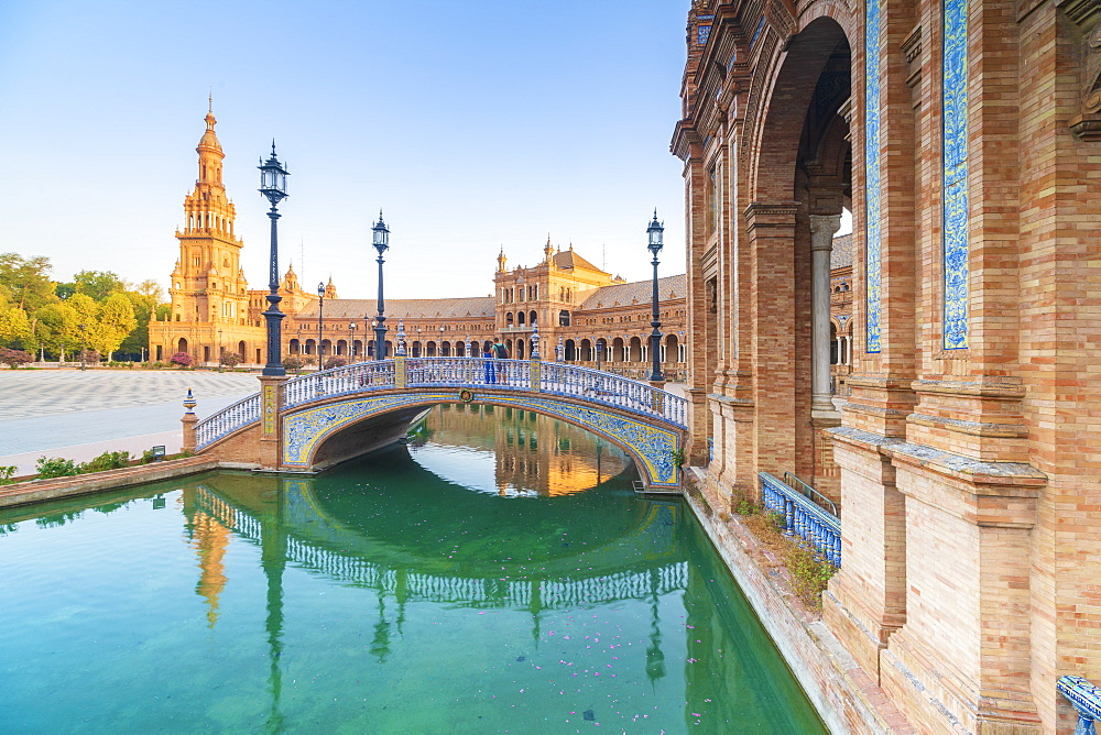 Arch bridge in Art Deco style along the canal, Plaza de Espana, Seville, Andalusia, Spain, Europe