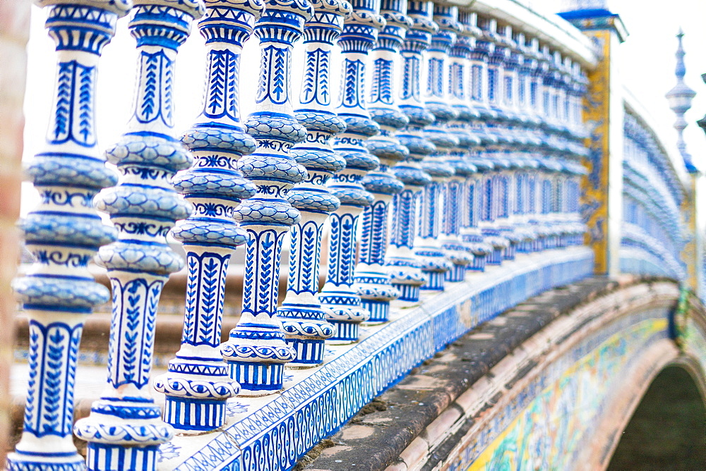 Close-up of details of ceramic tiled pillars of balustrade, Plaza de Espana, Seville, Andalusia, Spain, Europe