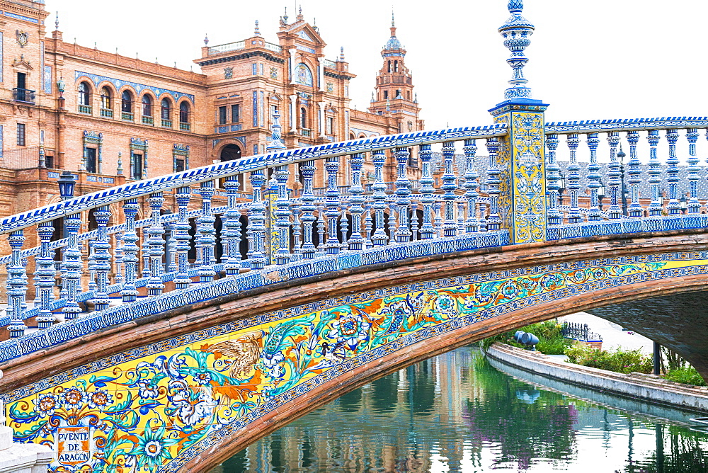 Bridge Puente de Aragon ornate with azulejos, Spanish ceramic tiles in Art Deco Style, Plaza Espana, Seville, Andalusia, Spain, Europe