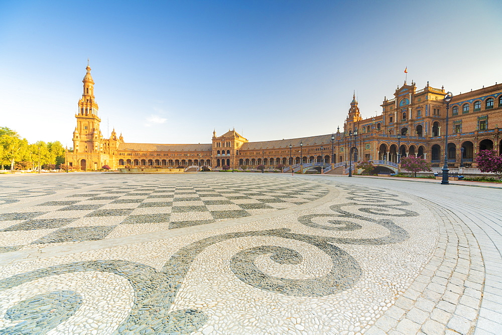 Shape and design of the stone mosaic flooring, Plaza de Espana, Seville, Andalusia, Spain, Europe