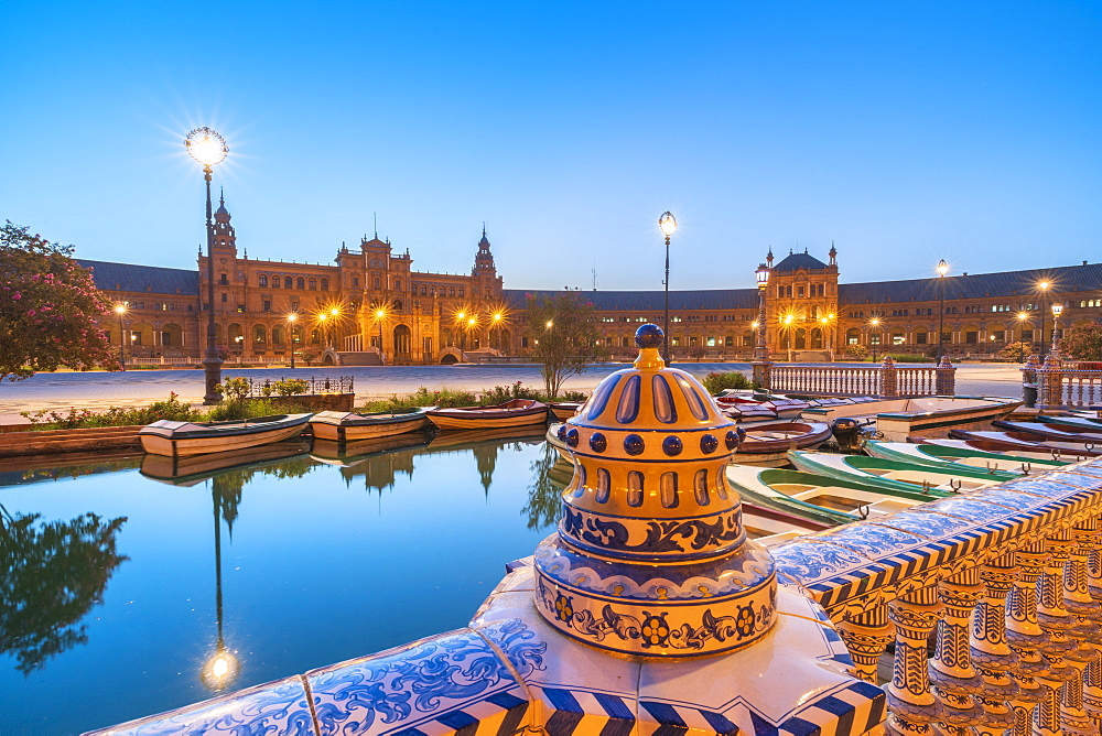 Details of decorated ceramic balustrade along the canal, Plaza de Espana, Seville, Andalusia, Spain, Europe