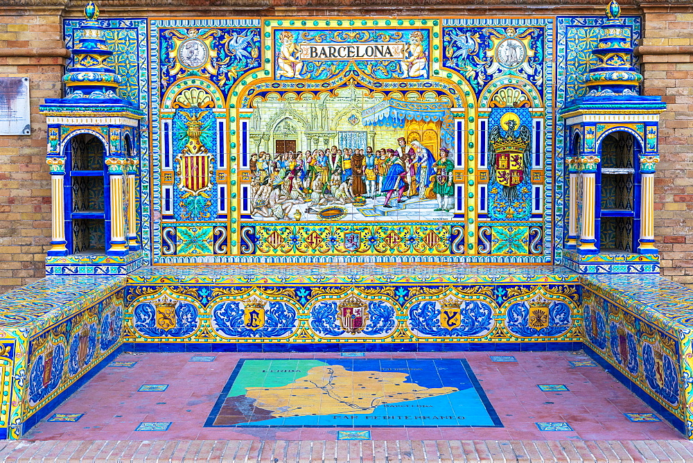 Alcove and benches adorned with Azulejos ceramic tiles depicts Spain provinces, Plaza de Espana, Seville, Andalusia, Spain, Europe