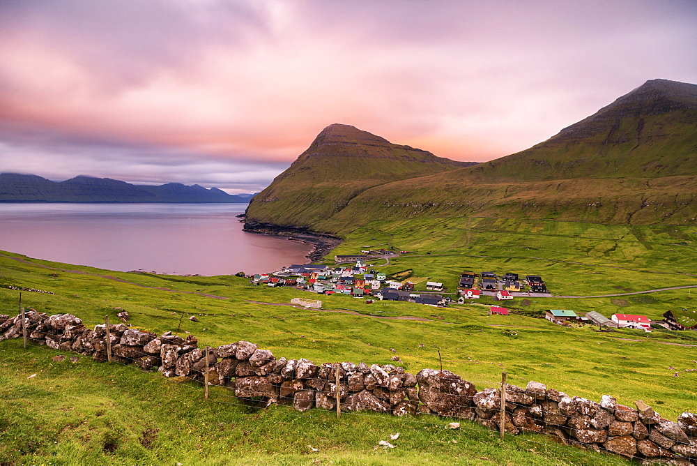 Coastal village of Gjogv, Eysturoy island, Faroe Islands, Denmark, Europe