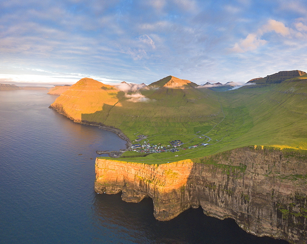 Aerial panoramic of of Gjogv, Eysturoy island, Faroe Islands, Denmark