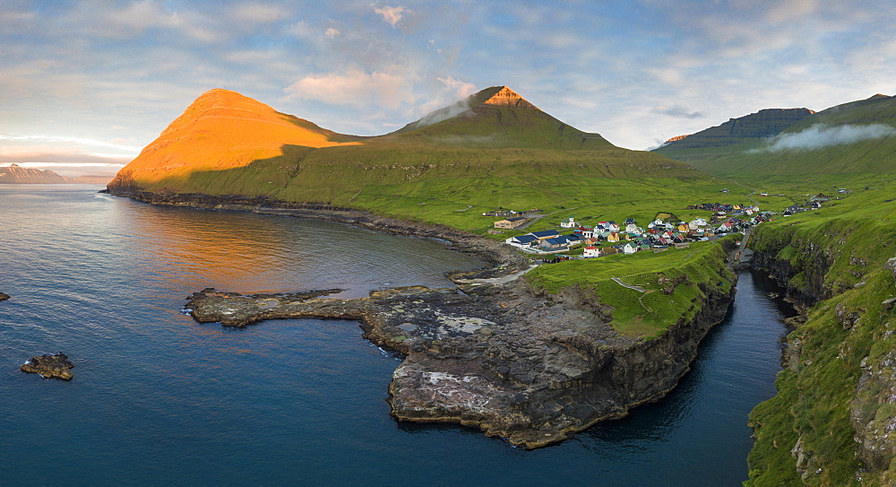 Elevated panoramic view of Gjogv, Eysturoy island, Faroe Islands, Denmark, Europe