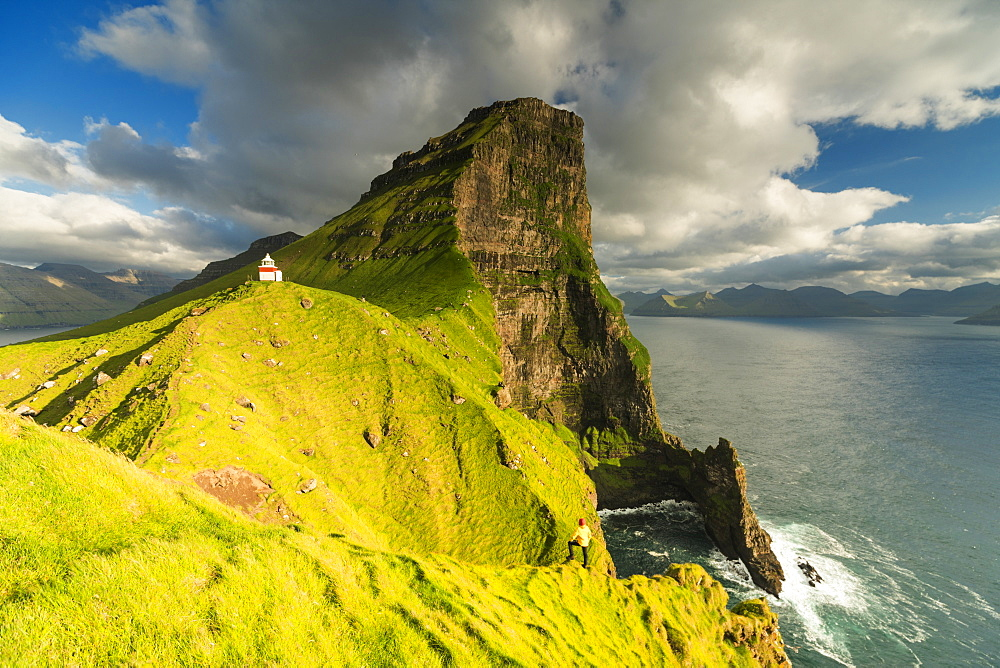 Kallur lighthouse, Kalsoy island, Faroe Islands, Denmark, Europe
