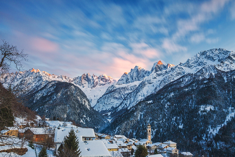 Alpine village of Soglio covered with snow, Bregaglia Valley, Maloja Region, Canton of Graubunden, Switzerland, Europe