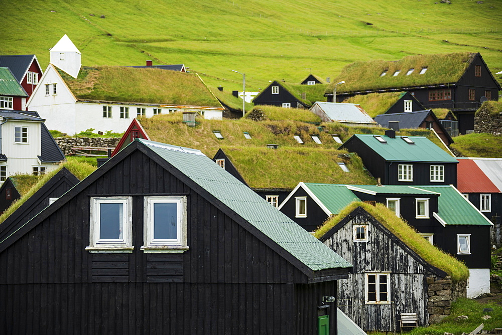Traditional houses with grass roof, Mykines island, Faroe Islands, Denmark - 1179-3685