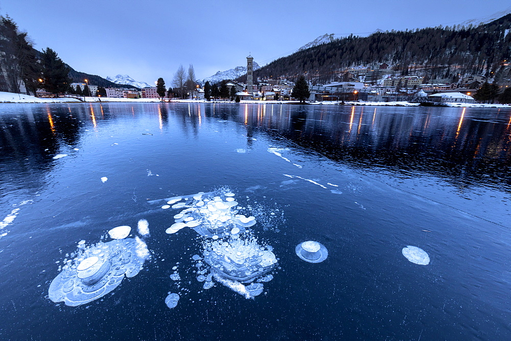 Ice bubbles trapped in the frozen Lake St Moritz, canton of Graubunden, Engadine, Switzerland - 1179-3688