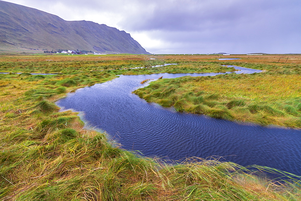 Flowing water of winding creek, Fredvang, Nordland county, Lofoten Islands, Norway, Europe
