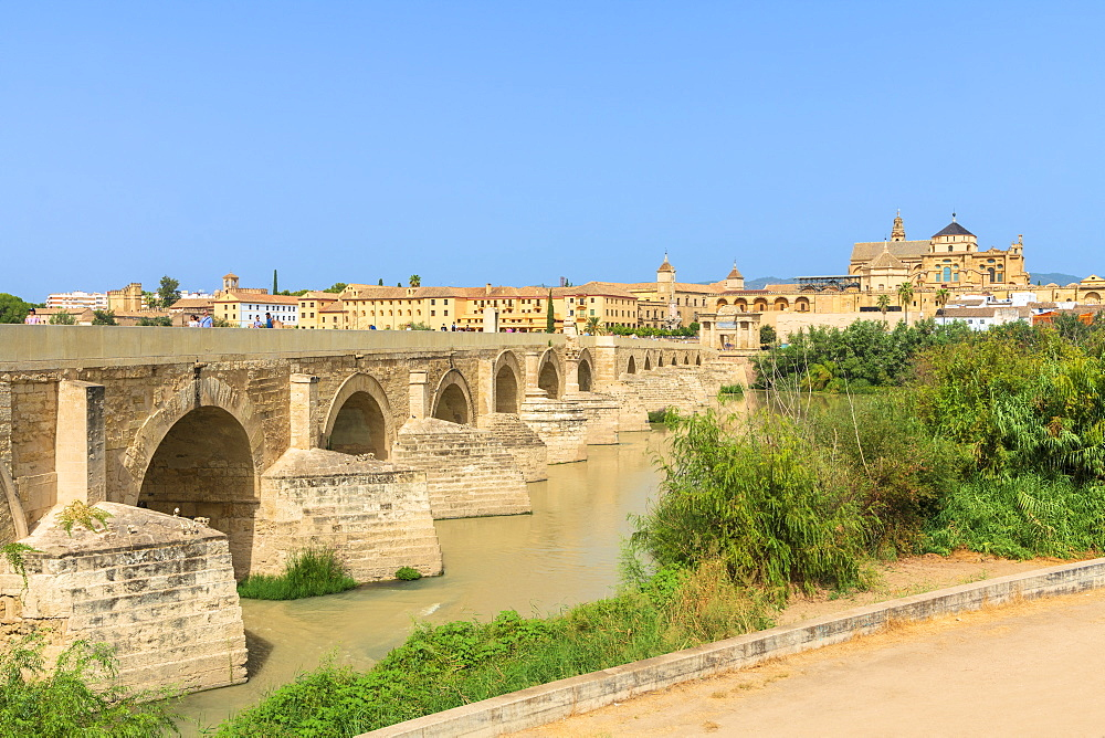Puente Romano (Roman bridge) along Guadalquivir River with Mezquita Cathedral in background, Cordoba, UNESCO World Heritage Site, Andalusia, Spain, Europe