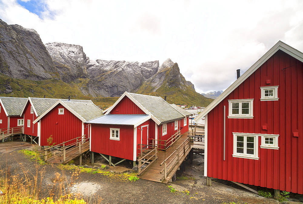 Iconic red fishermen's cabins (Rorbu), Reine, Nordland, Lofoten Islands, Norway, Europe