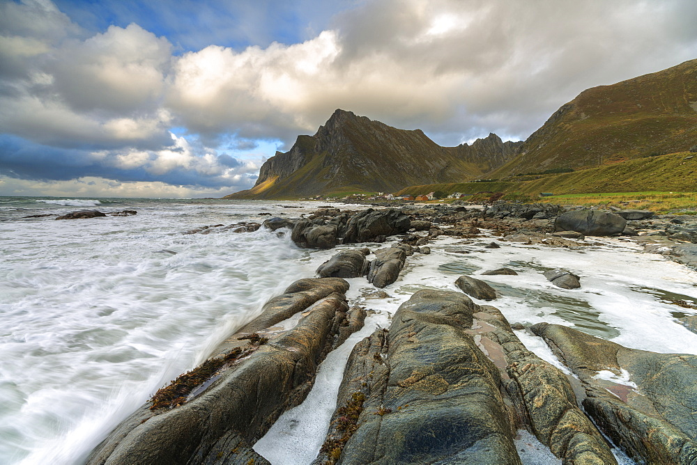 Waves crashing on rocks, Vikten, Flakstad municipality, Nordland, Lofoten Islands, Norway