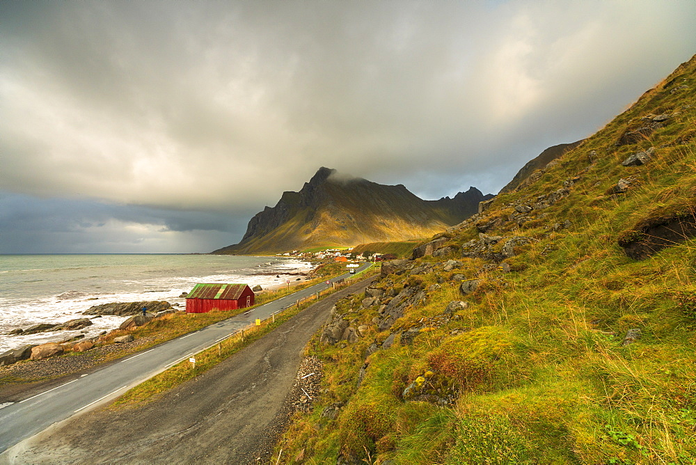 Coastal road in Vikten, Lofoten Islands, Norway, Europe