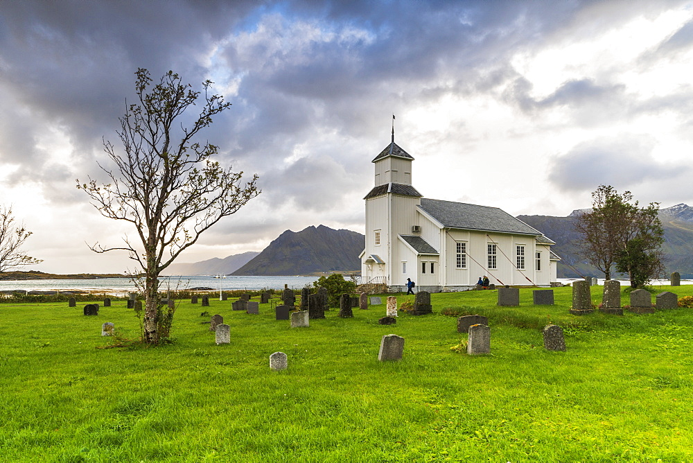 Iconic church and cemetery of Gimsoy, Nordland county, Lofoten Islands, Norway