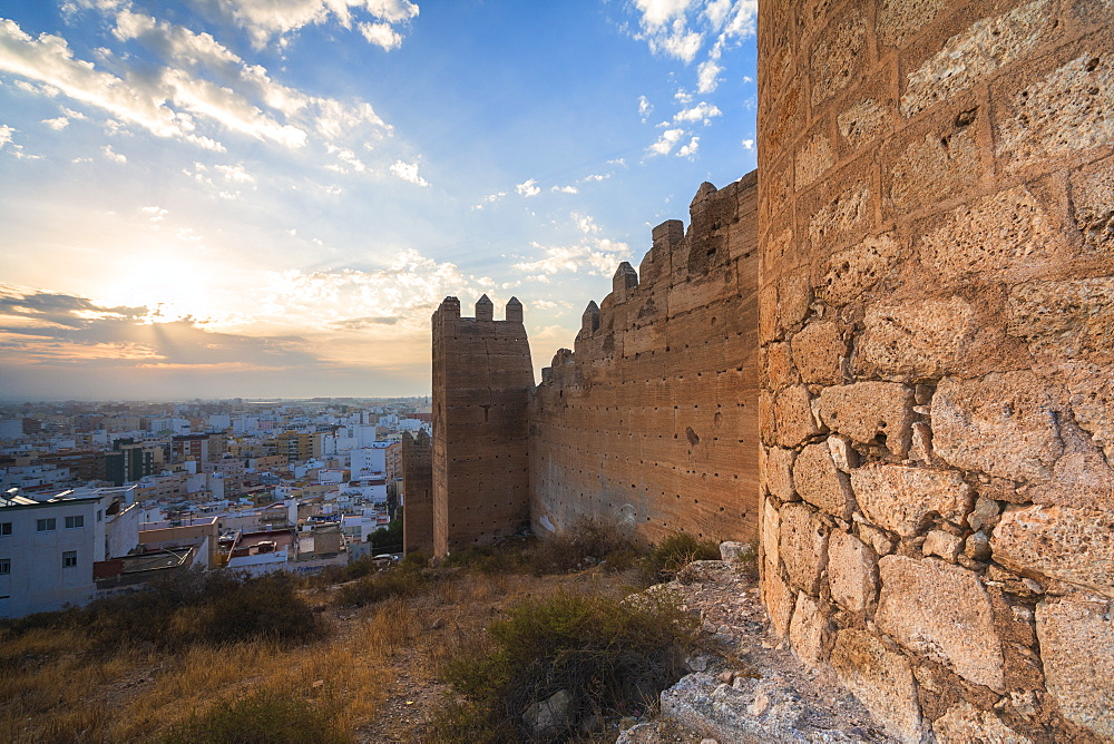 Walls of Alcazaba of Malaga at sunset in Almeria, Spain, Europe