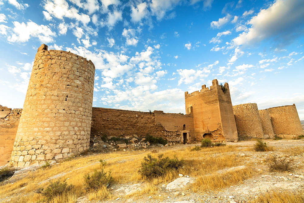 Defensive walls and towers of the Alcazaba Moorish castle and fortress, Almeria, Andalucia, Spain