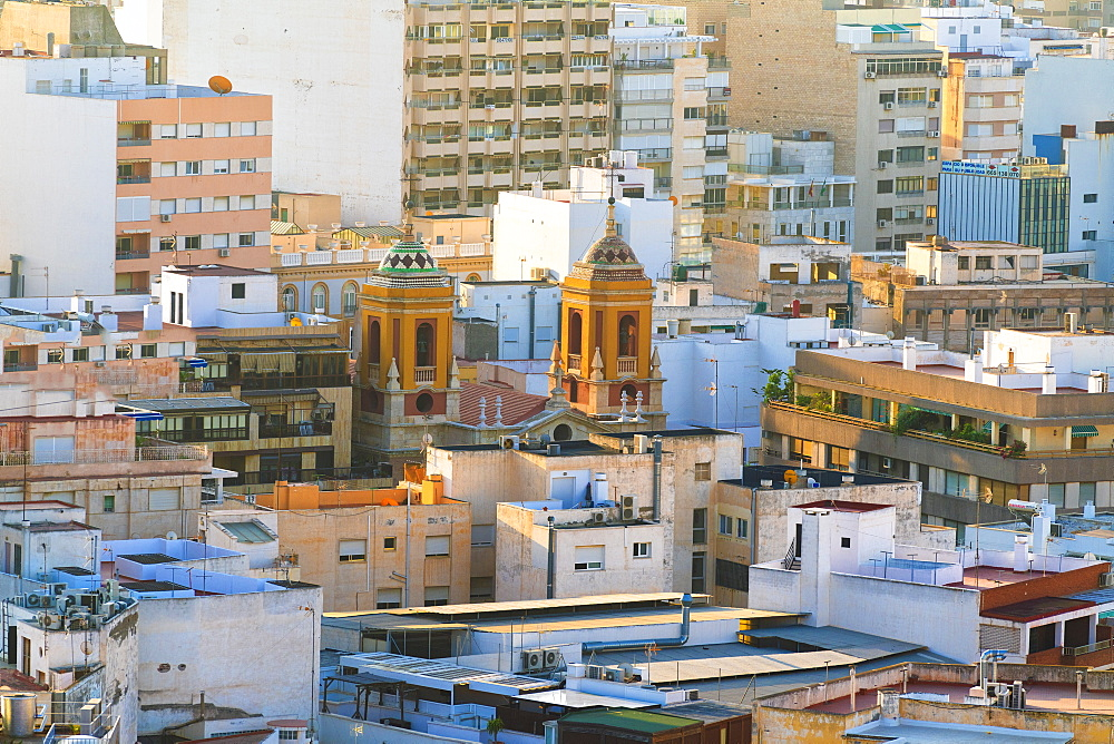 Arabic towers and historic buildings in the city centre of Almeria, Andalusia, Spain