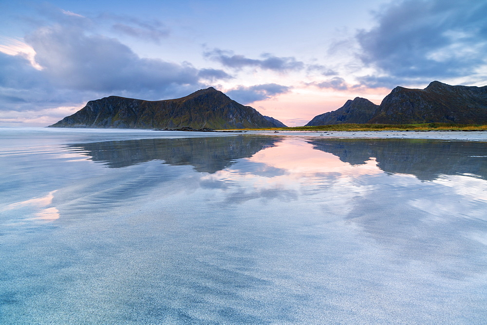 Sunset above Skagsanden beach, Flakstad, Nordland county, Lofoten Islands, Norway