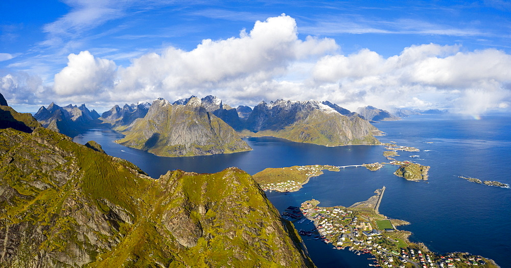 Panoramic aerial view of Reine Bay, Moskenes, Nordland, Lofoten Islands, Norway (drone)