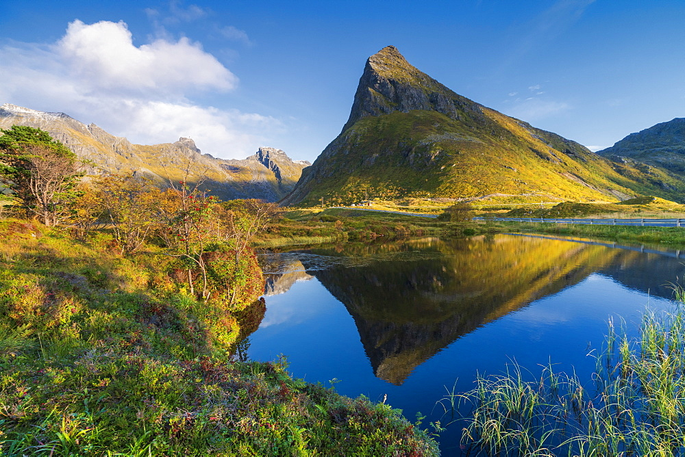 Mount Volanstinden and fjord during autumn, Fredvang, Nordland county, Lofoten Islands, Norway