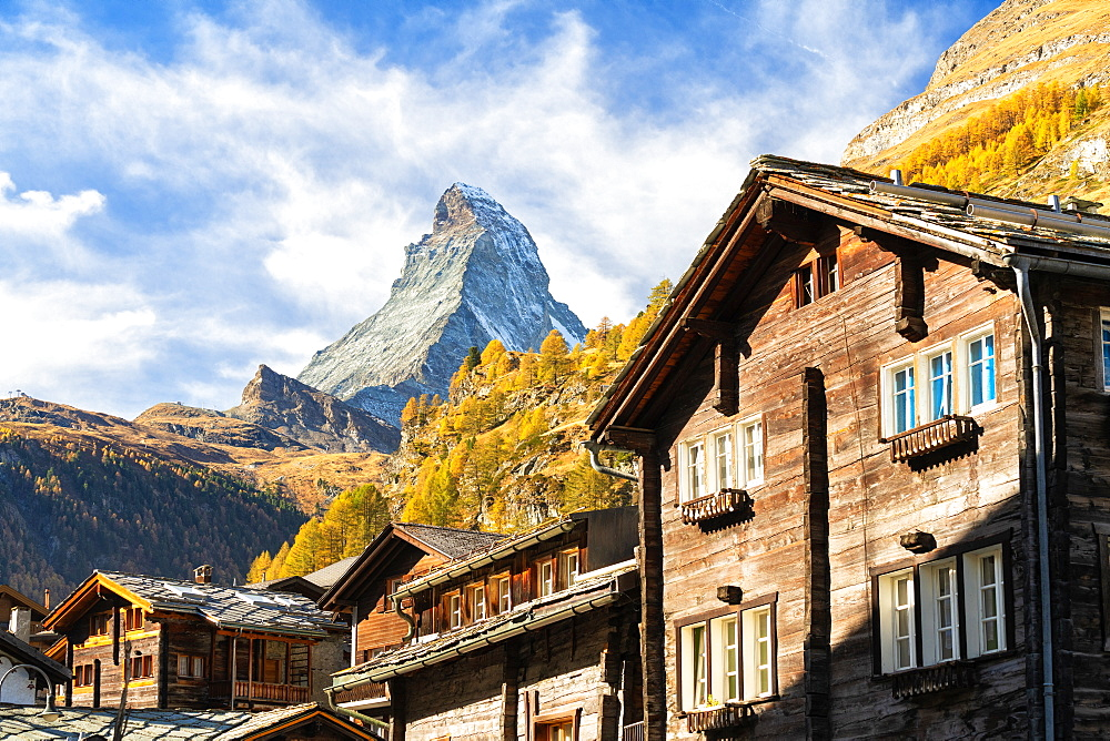 Traditional wood houses with Matterhorn in the background, Zermatt, canton of Valais, Switzerland - 1179-3808