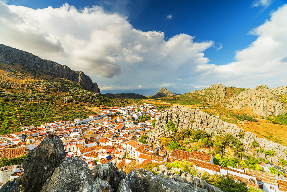 White town of Montejaque by mountains in Serrania de Ronda, Spain, Europe