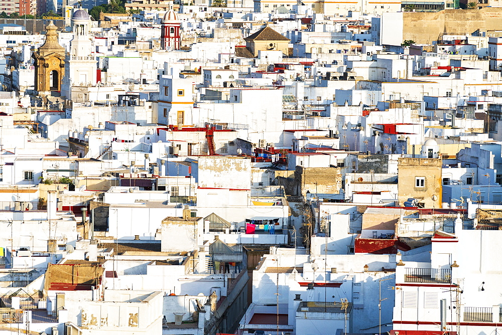 Typical architecture of white houses in the old town seen from Torre Tavira, Cadiz, Andalusia, Spain - 1179-3811