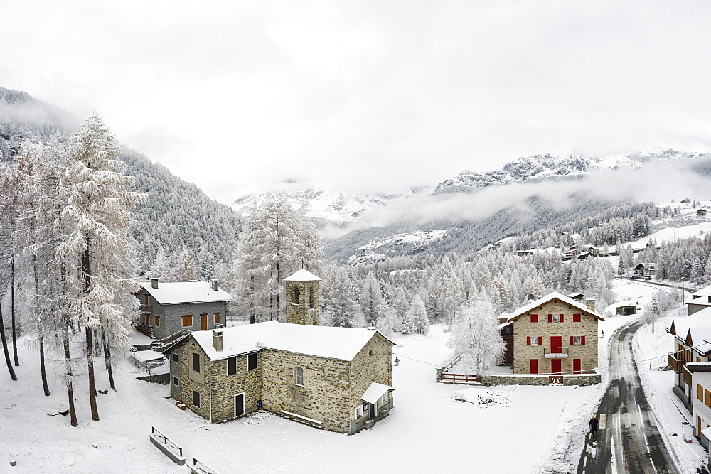 Old church and village of San Giuseppe after snowfall, Chiesa in Valmalenco, Valmalenco, Sondrio, Valtellina, Lombardy, Italy - 1179-3823