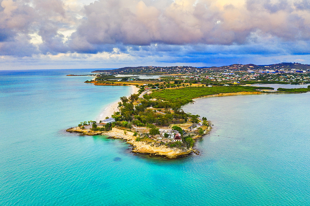Aerial view by drone of Fort James surrounded by Caribbean Sea, St. John's, Antigua, Leeward Islands, West Indies, Caribbean, Central America