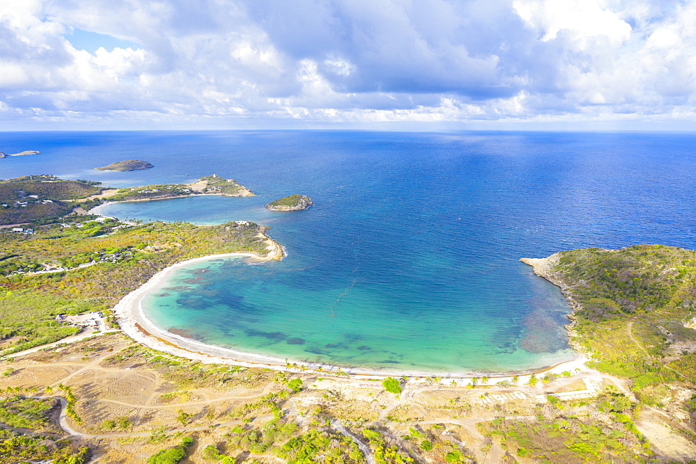 Aerial view by drone of Half Moon Bay washed by Caribbean Sea, Antigua, Leeward Islands, West Indies, Caribbean, Central America