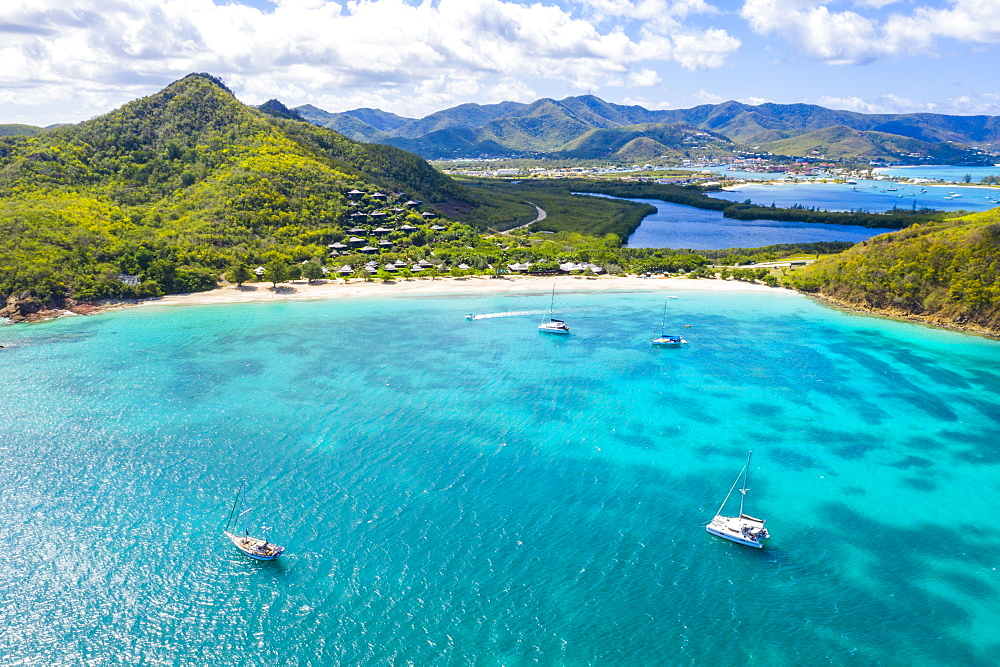 Aerial view by drone of Hermitage Bay and Caribbean Sea, Antigua, Antigua and Barbuda, Leeward Islands, West Indies, Caribbean, Central America