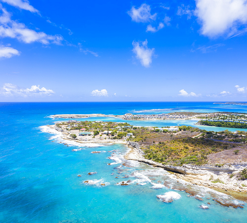 Aerial panoramic by drone of Long Bay, Devil's Bridge and The Verandah resort, Antigua, Antigua and Barbuda, Leeward Islands, West Indies, Caribbean, Central America