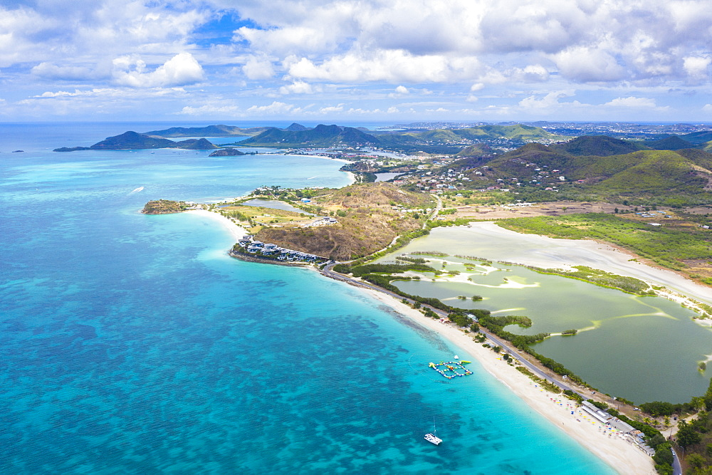 Aerial view by drone of Darkwood Beach and tropical lagoon, Antigua, Leeward Islands, West Indies, Caribbean, Central America