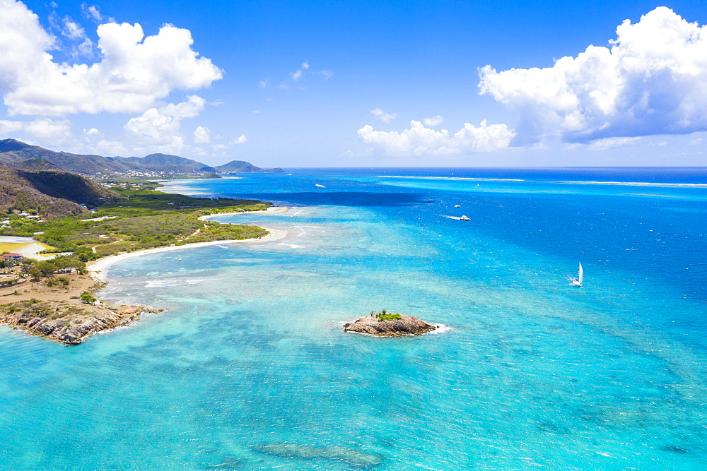 Aerial view by drone of the crystal Caribbean Sea, Urlings, Antigua, Antigua and Barbuda, Leeward Islands, West Indies, Caribbean, Central America