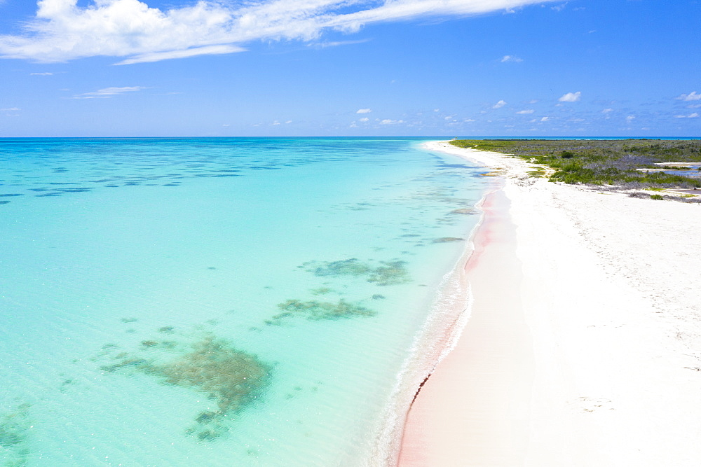 Aerial view by drone of the pink sand beach washed by the crystal water of Caribbean Sea, Antilles, West Indies, Caribbean, Central America
