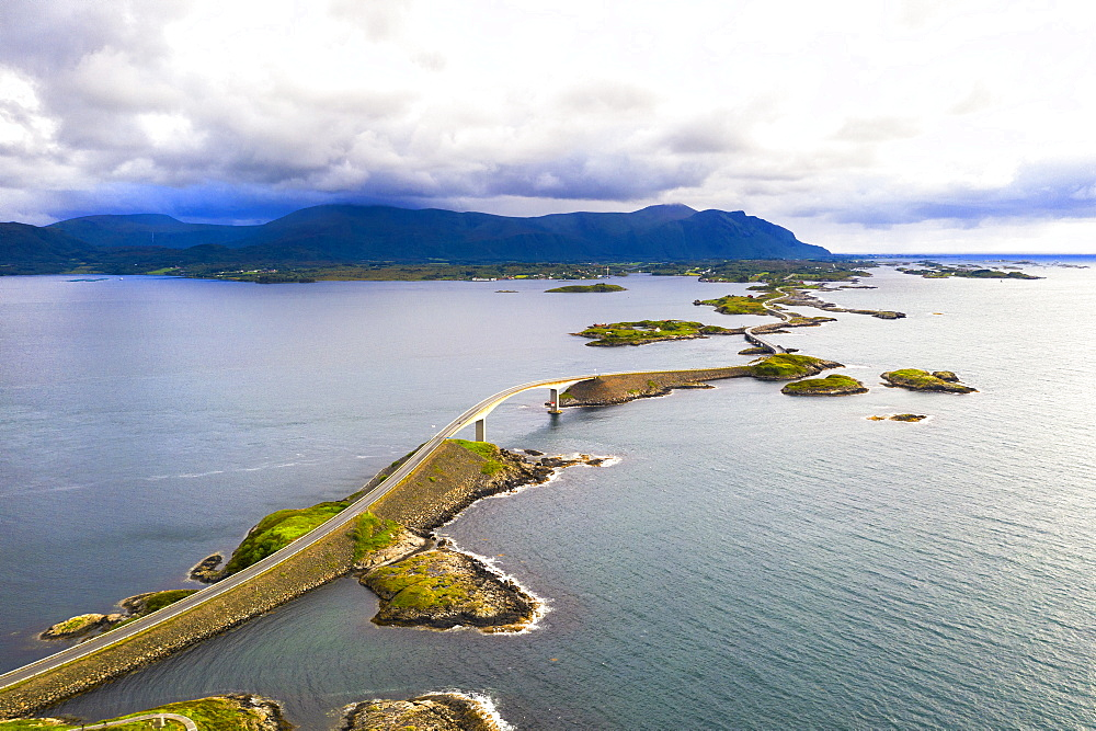 Aerial view of Storseisundet Bridge surrounded by sea and islets,Atlantic Road, More og Romsdal county, Norway (drone)