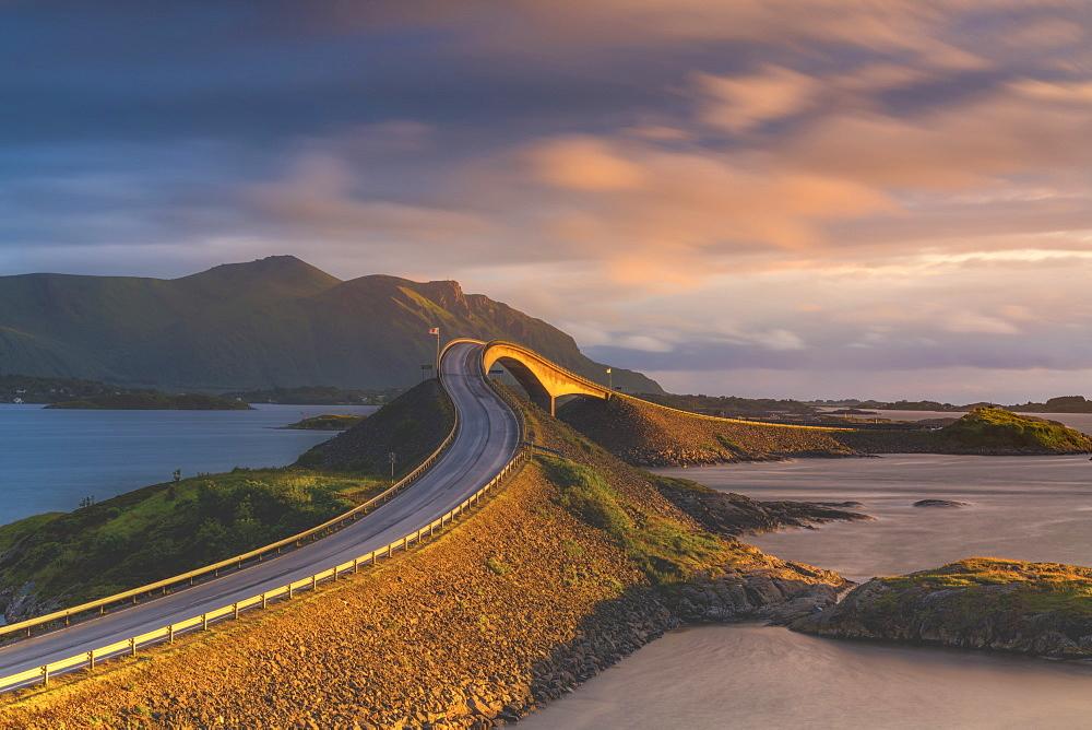 Sunset over Storseisundet Bridge, Atlantic Road, More og Romsdal county, Norway, Scandinavia, Europe