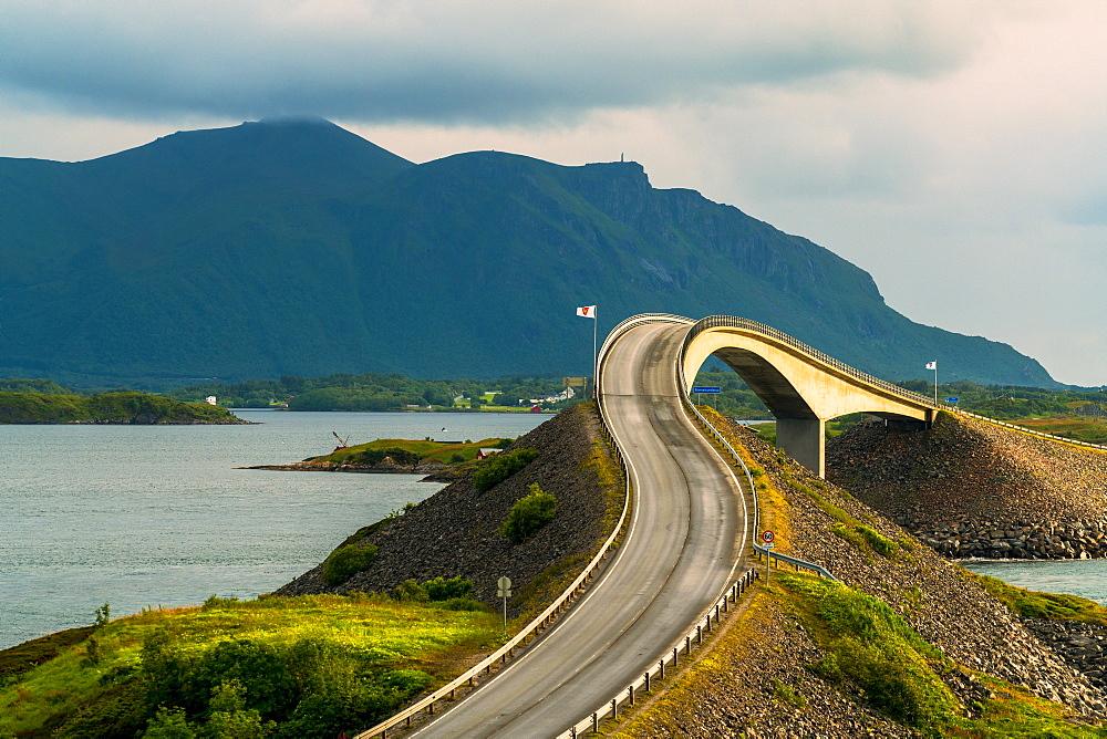 Curves along Storseisundet Bridge on the Atlantic Ocean Road, More og Romsdal county, Norway, Scandinavia, Europe
