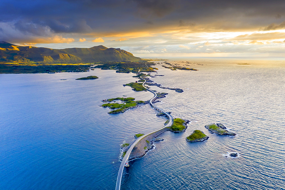 Aerial view of the Atlantic Road during sunset, More og Romsdal county, Norway, Scandinavia, Europe