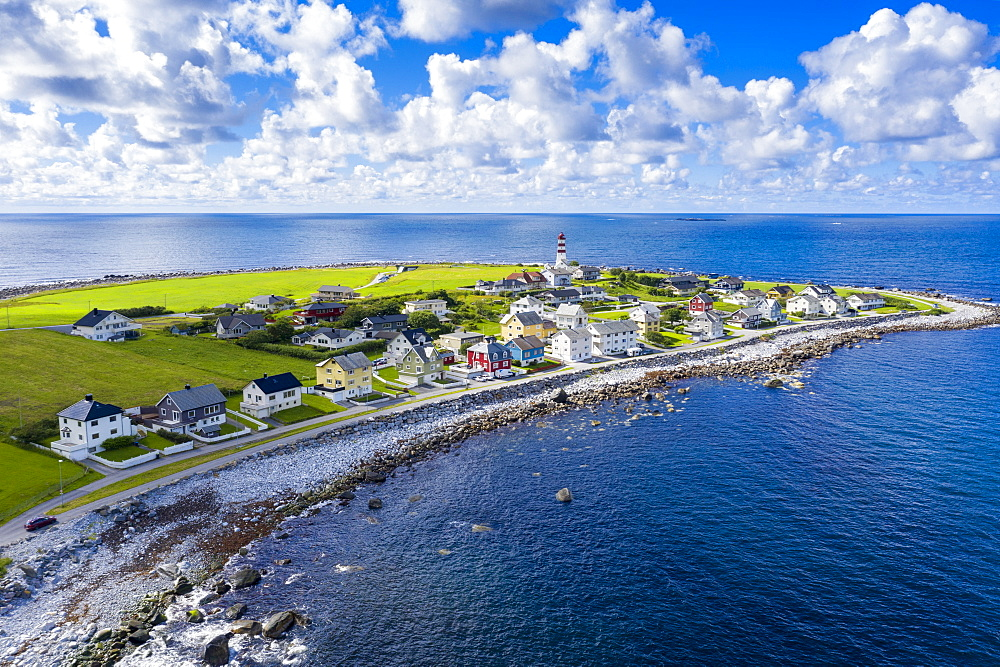 Aerial view by drone of the coastal village of Alnes, Godoya Island, Alesund, More og Romsdal County, Norway, Scandinavia, Europe