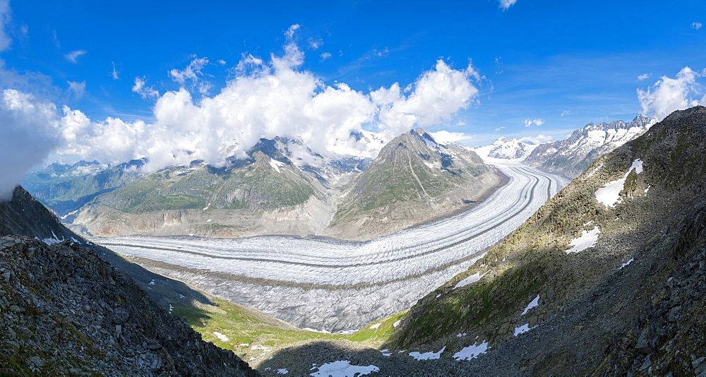 Panoramic of the ice tongue of Aletsch Glacier from Eggishorn viewpoint, Bernese Alps, Canton Valais, Switzerland, Europe