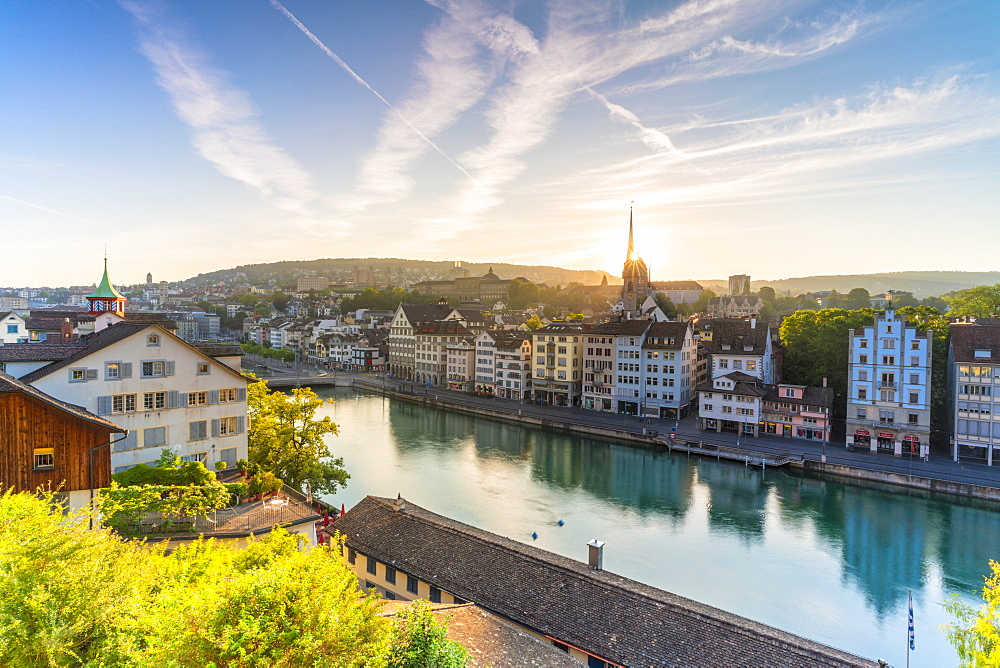 Sunrise over Limmat River seen from Lindenhof Hill, Zurich, Switzerland, Europe - 1179-4030
