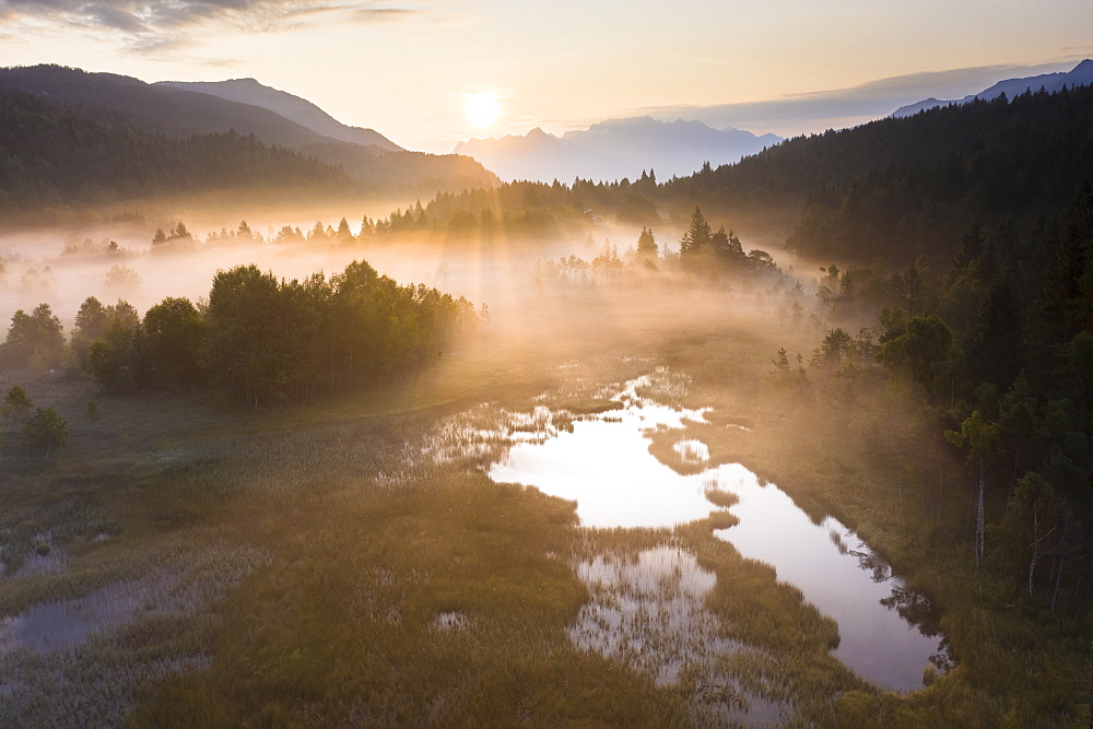 Fog at sunrise over the swamp of Pian di Gembro Nature Reserve, aerial view, Aprica, Valtellina, Lombardy, Italy, Europe - 1179-4040