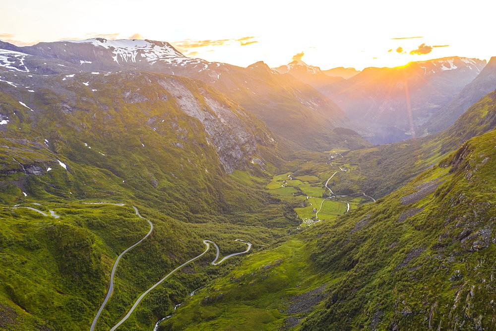 Narrow bends of road leading to Geiranger from Dalsnibba mountain, aerial view, Stranda municipality, More og Romsdal, Norway, Scandinavia, Europe