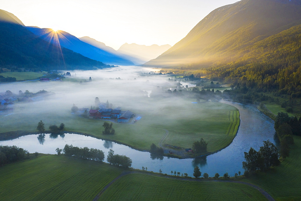 Mist over the cultivated fields along Stryneelva river, aerial view, Stryn, Nordfjorden, Sogn og Fjordane county, Norway, Scandinavia, Europe - 1179-4062