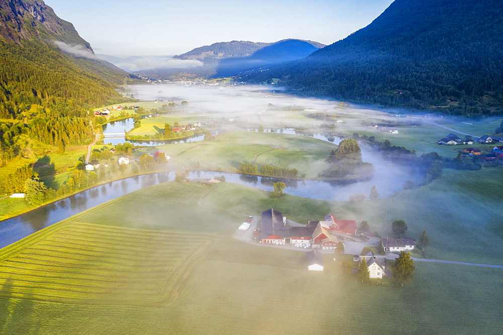 Fog over farms and fields along Stryneelva river, aerial view, Stryn, Nordfjorden, Sogn og Fjordane, Norway, Scandinavia, Europe - 1179-4063