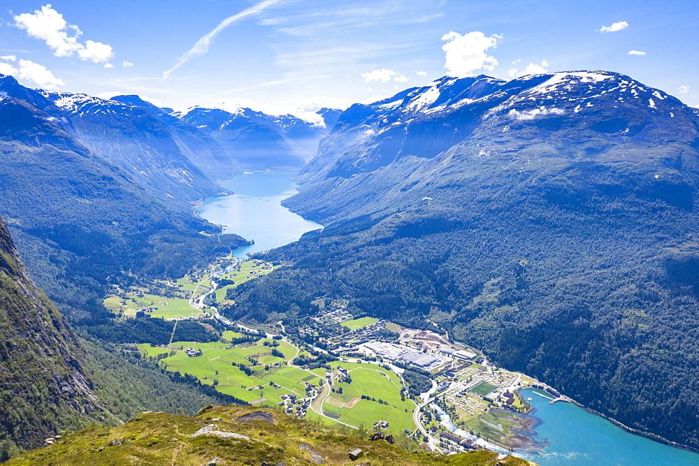 Aerial view of Lovatnet lake, Loen village and Nordfjord, Stryn, Sogn og Fjordane county, Norway, Scandinavia, Europe - 1179-4065